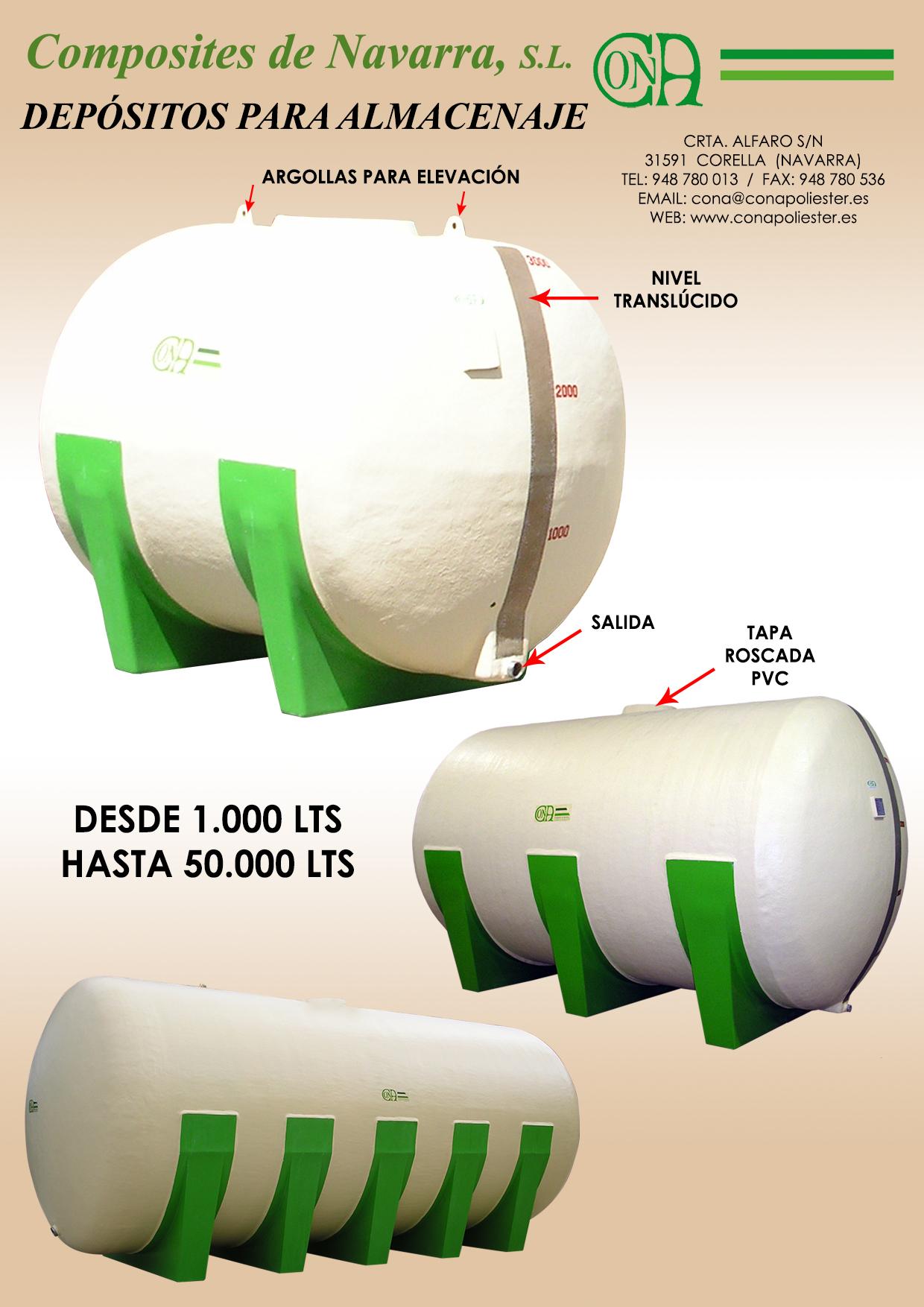 Depósitos horizontales para almacenaje
